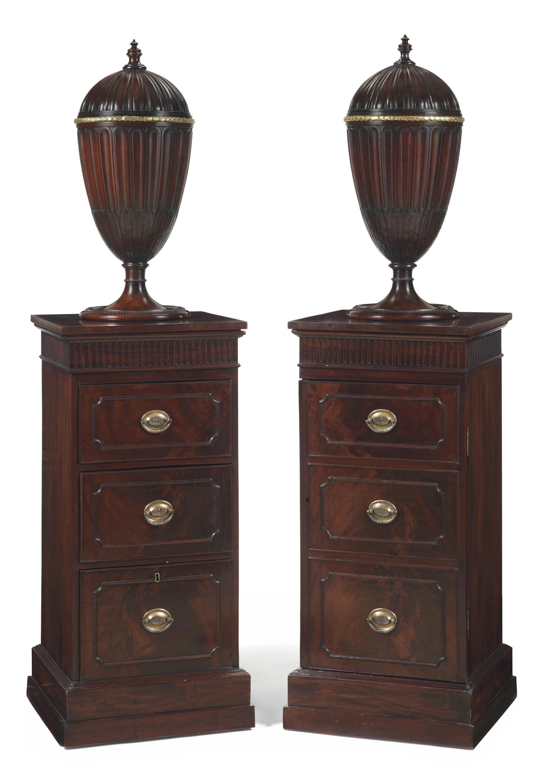 A Pair Of George Iii Ormolu Mounted Urns On Pedestals