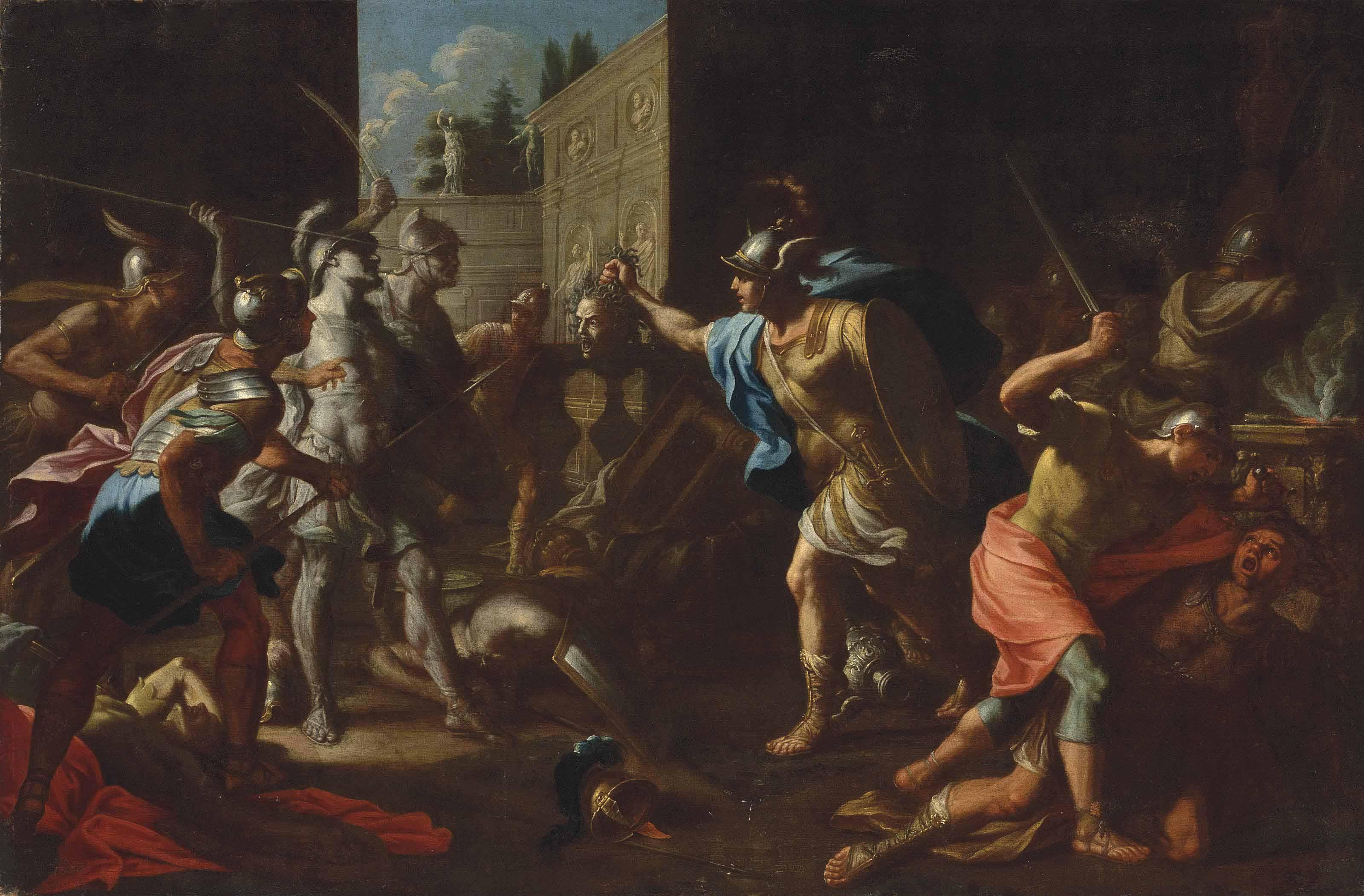 Roman School 18th Century Perseus Turning Phineas Into