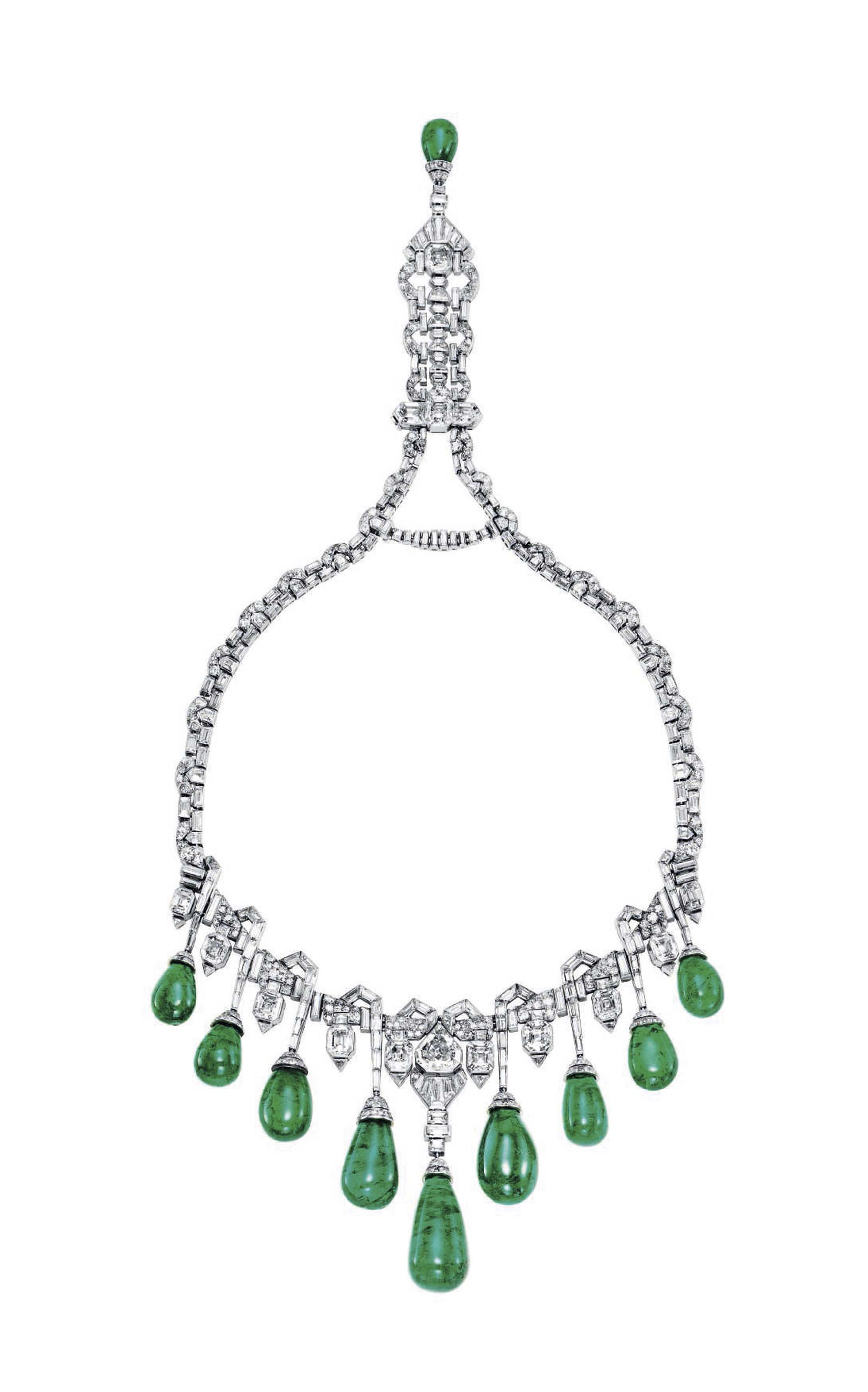 An Art Deco Emerald And Diamond Necklace By Van Cleef