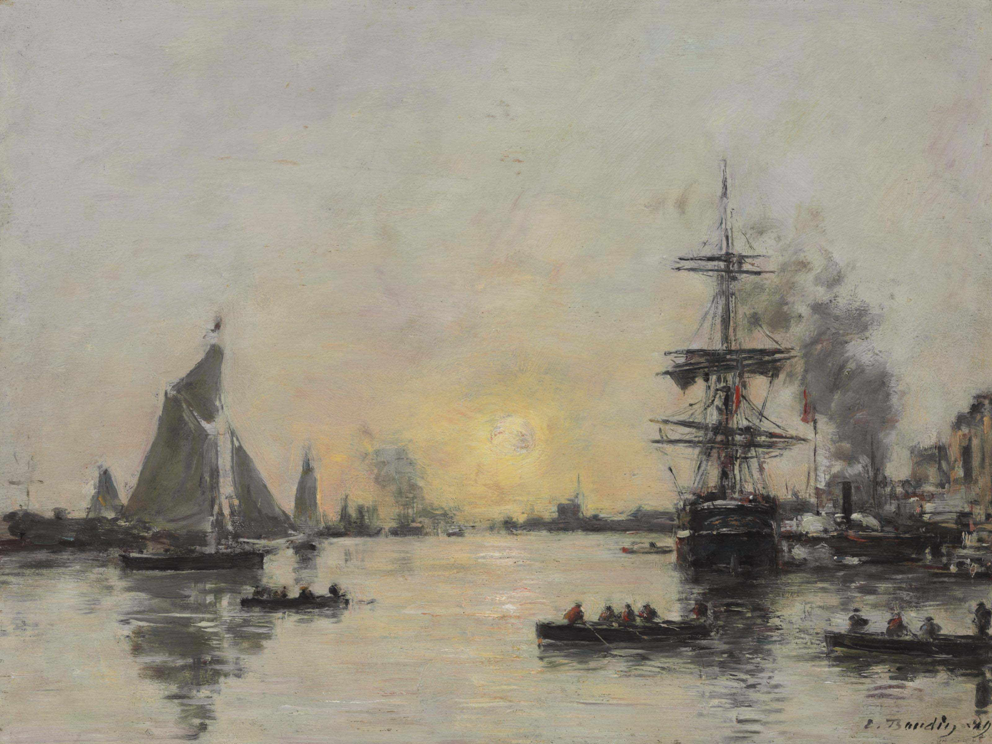 Risultati immagini per E. Boudin 1824-98, Le Havre, l'avant-port, maréè du soir