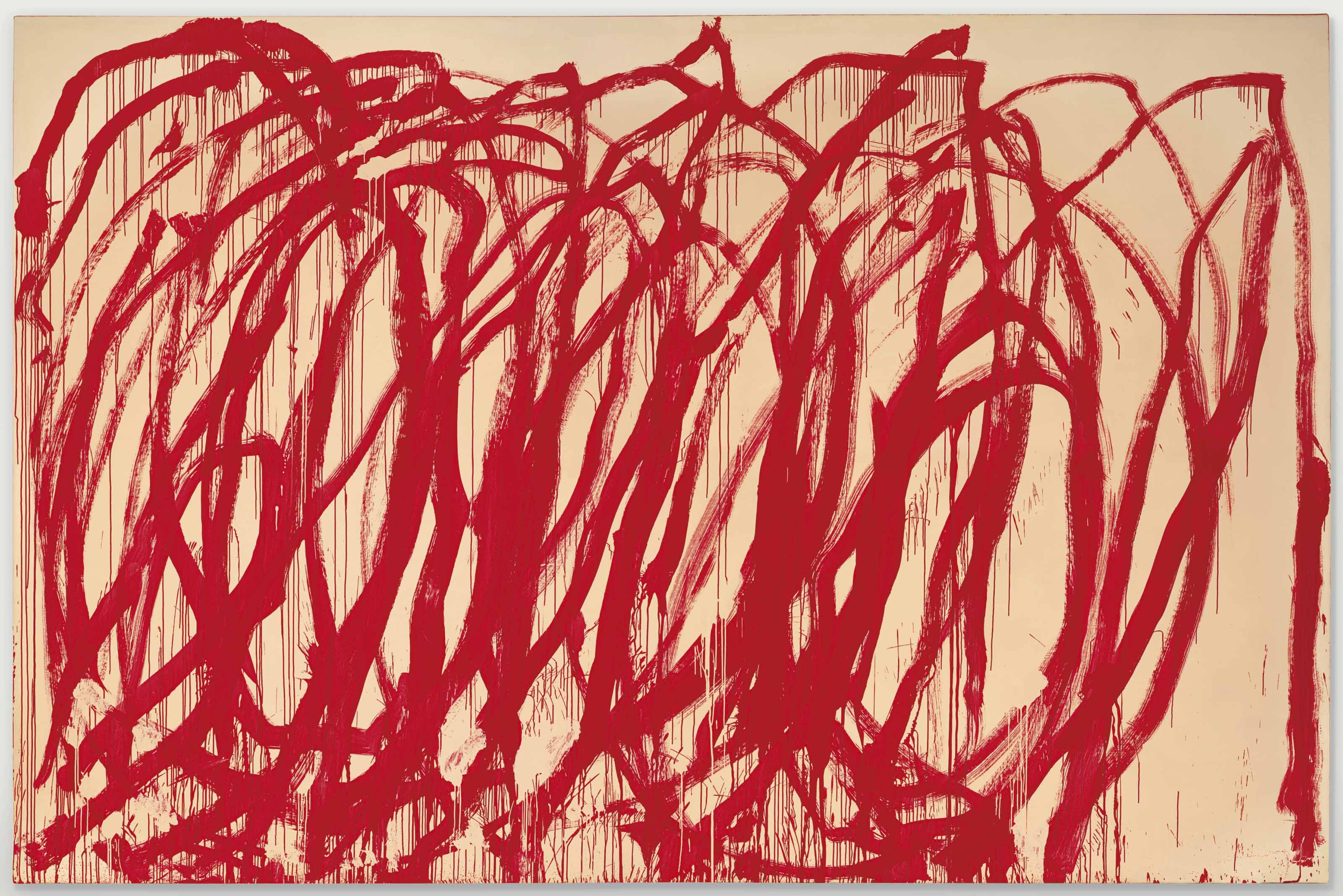 Cy Twombly (1928-2011), Untitled, 2005. 128 x 194½  in (325.1 x 494  cm). Sold for $46,437,500 in the Post-War & Contemporary Art Evening Sale on 15 November 2017  at Christie's in New York