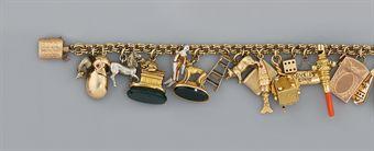A 19th century gold charm bracelet
