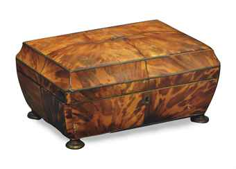 A REGENCY TORTOISESHELL COFFER-FORM TEA CADDY,