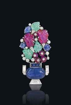 AN ART DECO 'TUTTI FRUTTI' BROOCH, BY CARTIER