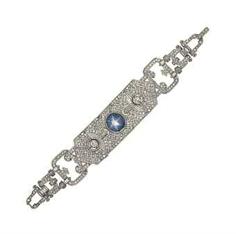 An Art Deco platinum, star sapphire and diamond bracelet