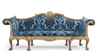 A GEORGE III GILTWOOD SOFA DESIGNED BY ROBERT ADAM AND