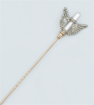 A late 19th century French diamond and rock crystal hatpin