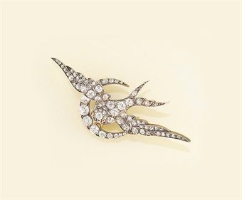 A Victorian diamond bird brooch
