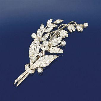 A late Victorian diamond spray brooch