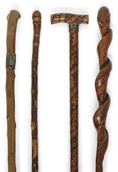 carved wooden walking sticks