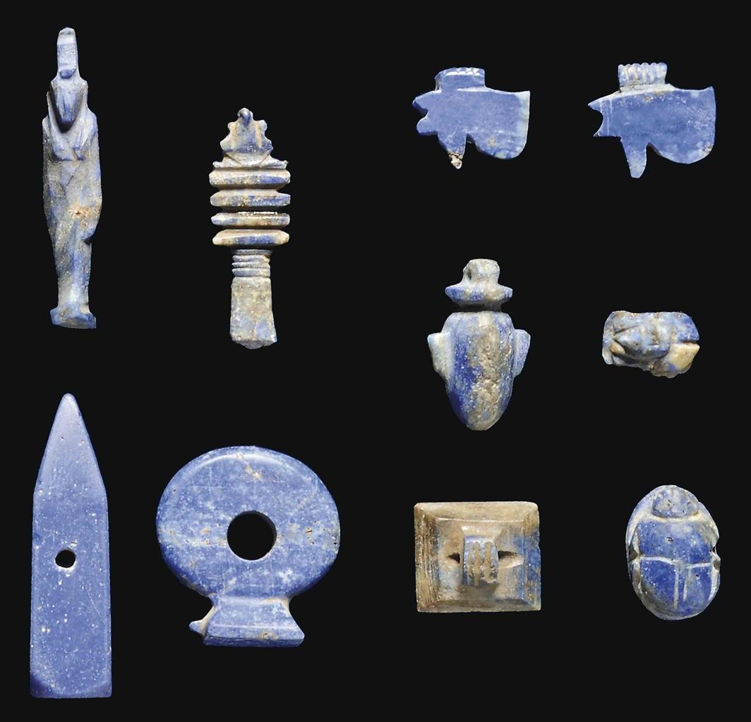 Ten Egyptian Lapis Lazuli Amulets