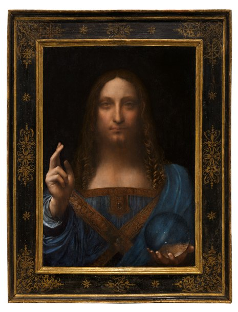 Leonardo da Vinci, Salvator Mundi. Oil on walnut panel. Panel dimensions 25 1316 x 17 1516 in (65.5 x 45.1 cm) top; 17¾ in (45.6 cm) bottom; Painted image dimensions 15⅜ x 17½ in (64.5 x 44.7 cm). Estimate on request. This work will be offered as a special lot in the Post-War and Contemporary Art Evening Sale on 15 November at Christie's in New