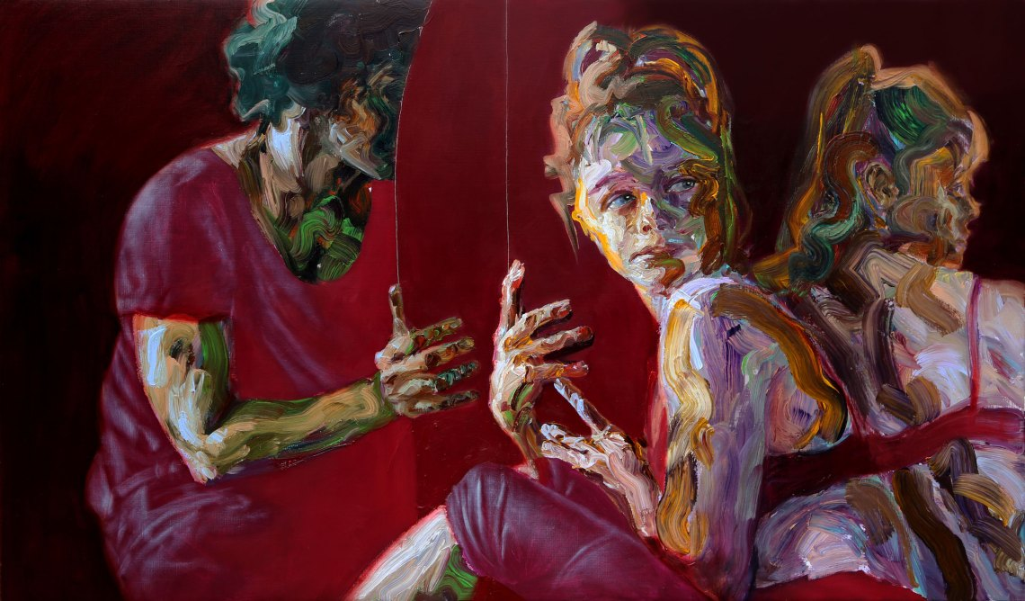 Sara Shamma, Hiding in Plain Sight, 2019. Oil on canvas. Size 100⅔ x 59 in (255 x 150 cm). © Sara Shamma