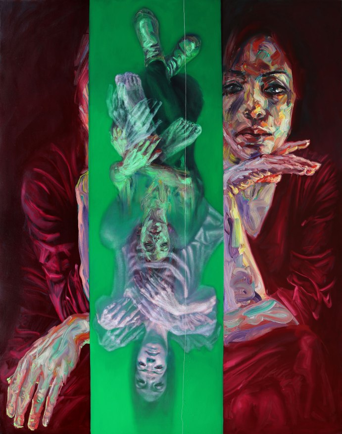 Sara Shamma, The Fall, 2019. Oil on canvas. Size 78 ¾ x 98 in (200 x 250 cm). © Sara Shamma