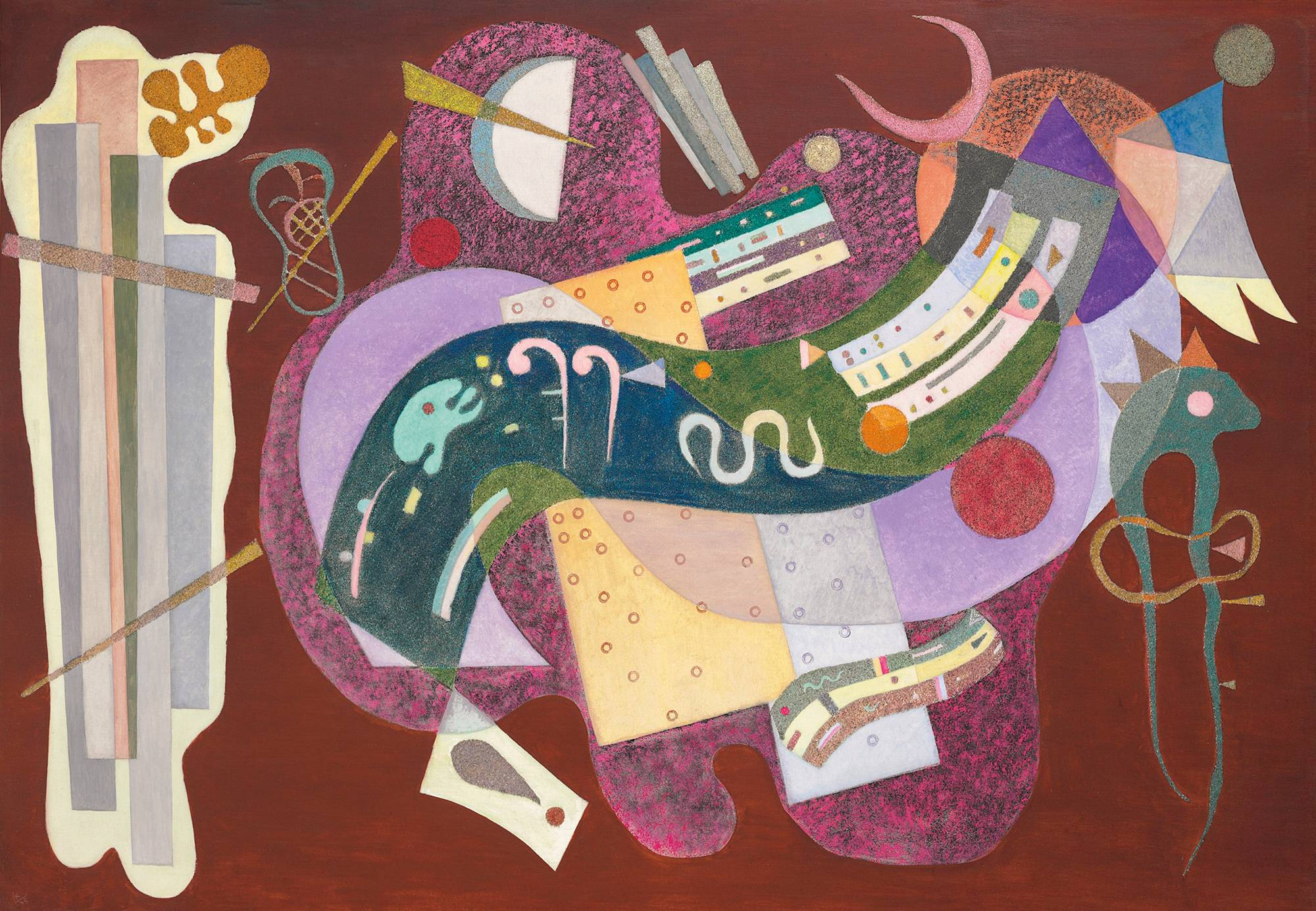 Wassily Kandinsky (1866-1944), Rigide et Courbé, 1935. Oil and sand on canvas. 44⅞ x 63⅞ in (114 x 162.4 cm). Estimate $18,000,000-25,000,000. This work is offered in the Impressionist & Modern Art Evening Sale on 16 November at Christie's in New York