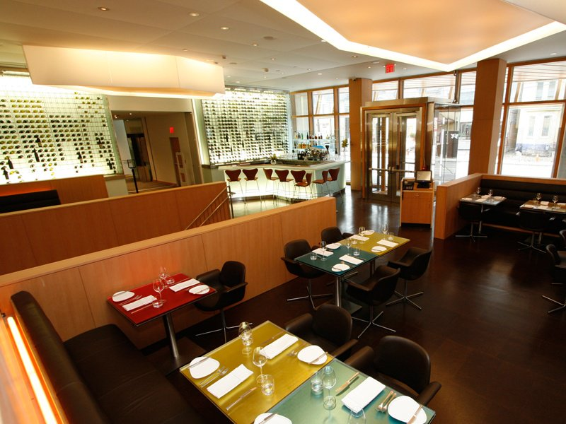 Designed by Frank Gehry, the Art Gallery of Toronto's award-winning restaurant FRANK features modern Danish furnishings and an installation by contemporary painter and sculptor Frank Stella.