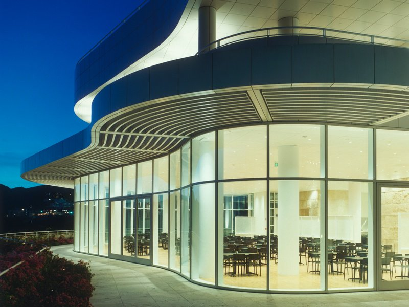 The Restaurant/Cafe building at the Getty Center, Los Angeles, houses a more casual Cafe on its lower level, as well as the elegant Restaurant. Photograph: ©2002 J. Paul Getty Trust