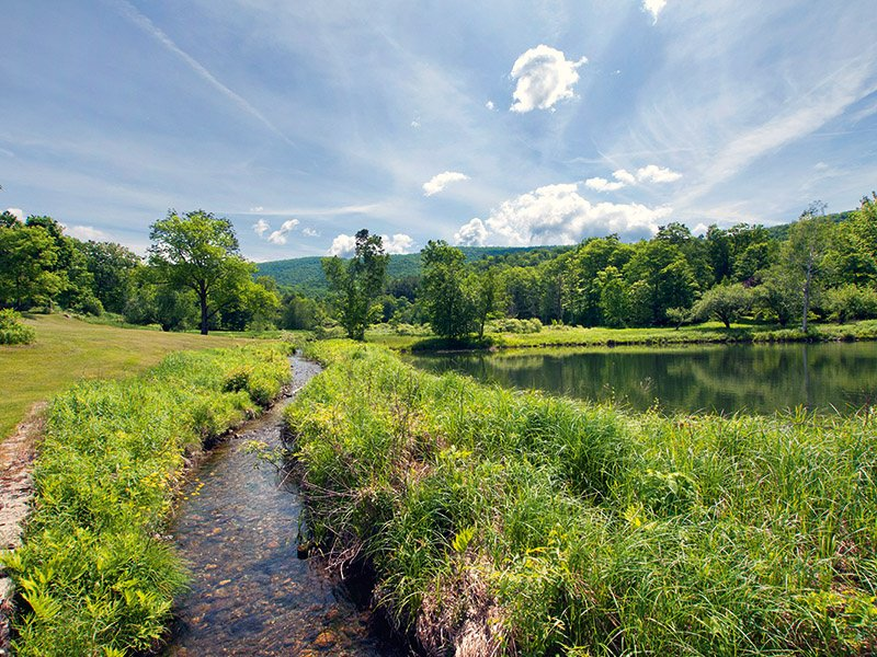 The historic 948-acre Black Hole Hollow Farm in Cambridge, New York, is located amid an idyllic landscape threaded by the White Creek brook. The estate includes barns, a riding arena, fenced paddocks, and an updated and expanded 18th-century farmhouse. On the market for $3,980,000 with LandVest, Inc.