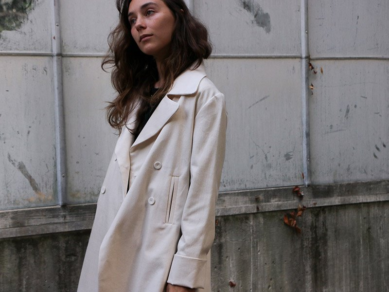 ca1c24bf46 The stretch cotton twill Hugo peacoat from Erica Tanov s Fall 2017  Collection. Photograph  Gabrielle