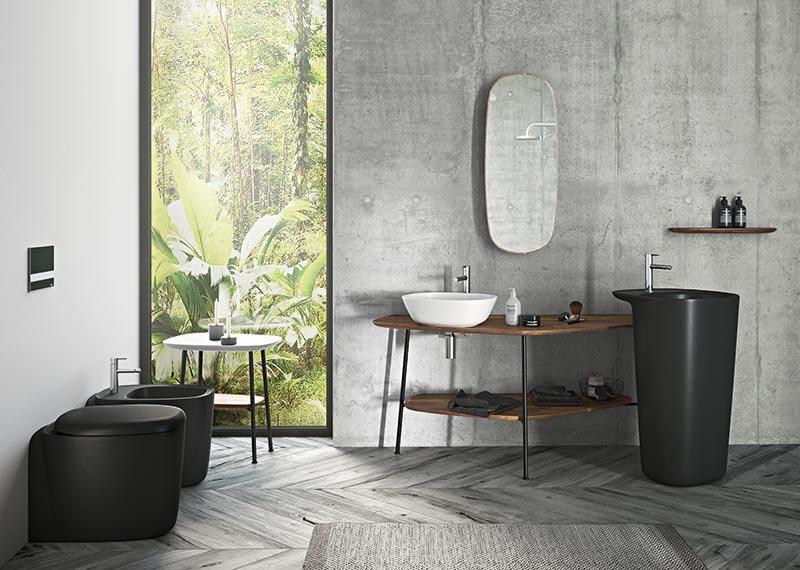 A Vitra colaborou com a designer Terri Pecora para criar móveis de casa de banho que podem ser organizados em inúmeras combinações, incentivando uma releitura de como usar o espaço.