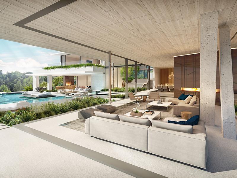 Sofas overlooking pool
