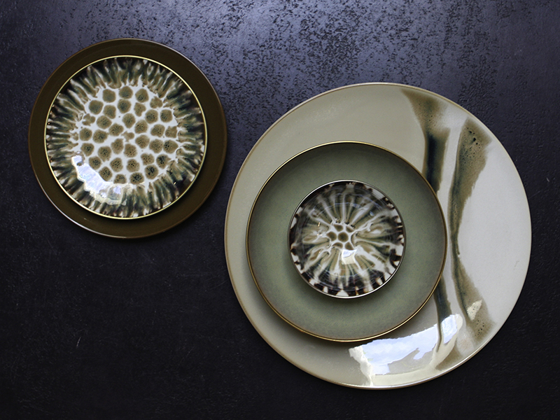 Three patterned plates by Rebecca Willer