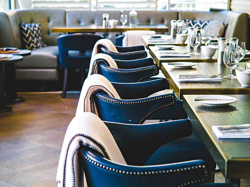Dining tables in restaurant