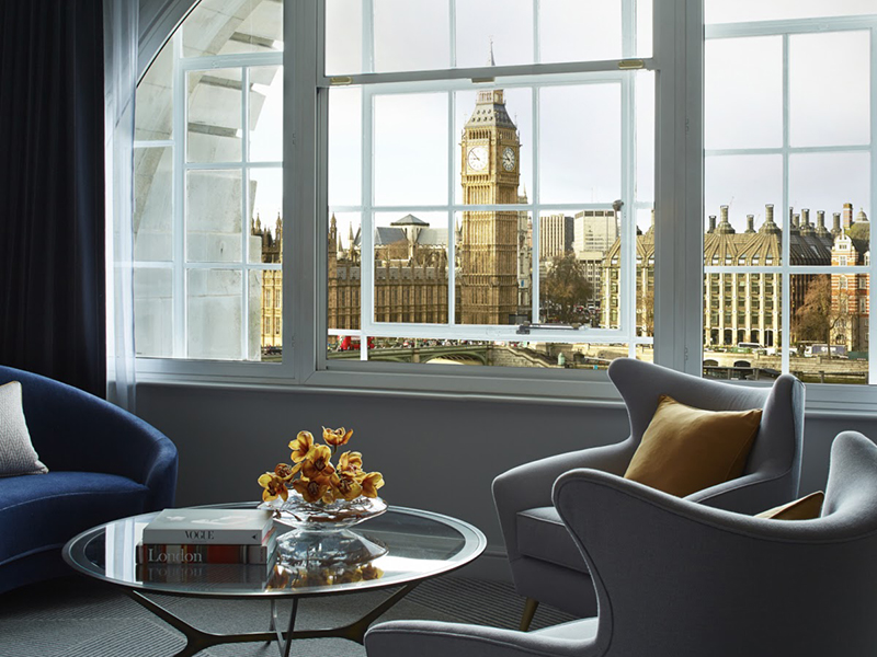 A cosy reading corner with views of Londons Big Ben
