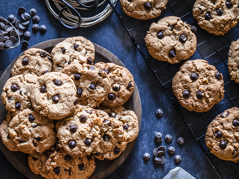 plate filled with chocolate chip cookies