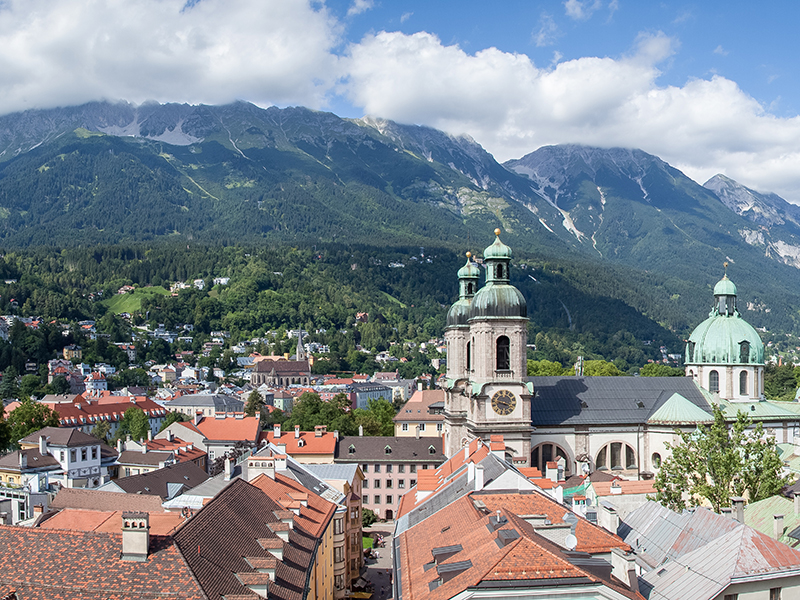 The Austrian city of Innsbruck with the Alps in the background