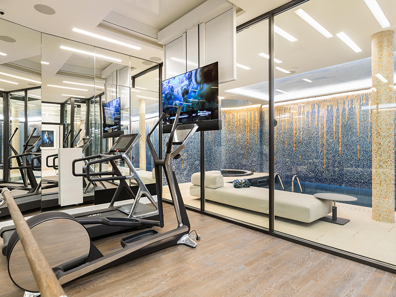 A home workout gym in a property in Paris