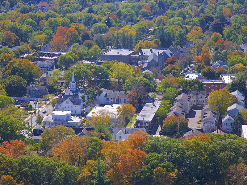 Aerial view of a Connecticut town, a place which urban renewal hopes to emulate