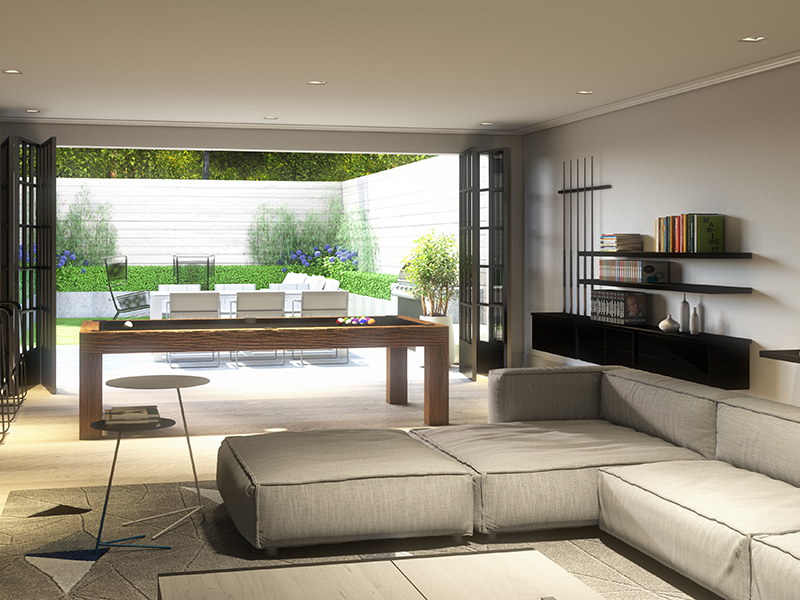 View from living room onto outdoor living area