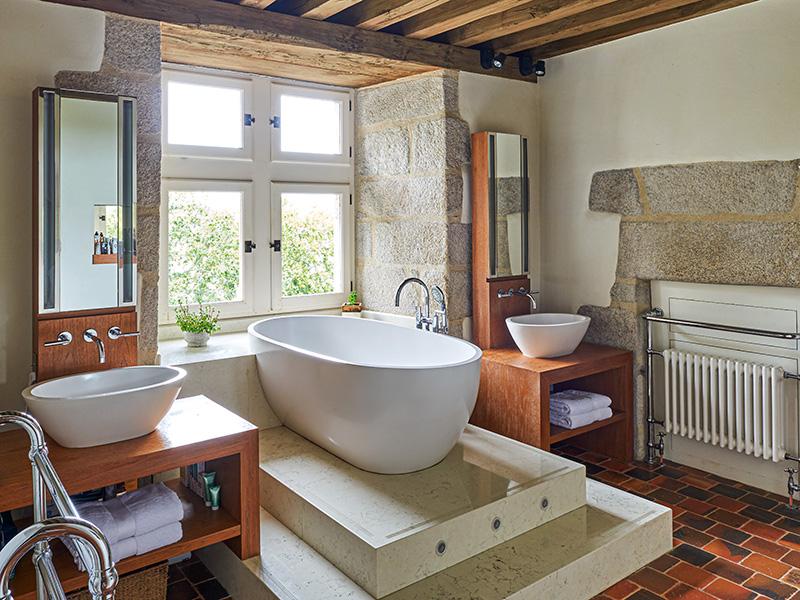 Bathroom at Château du Hénan in Brittany, France