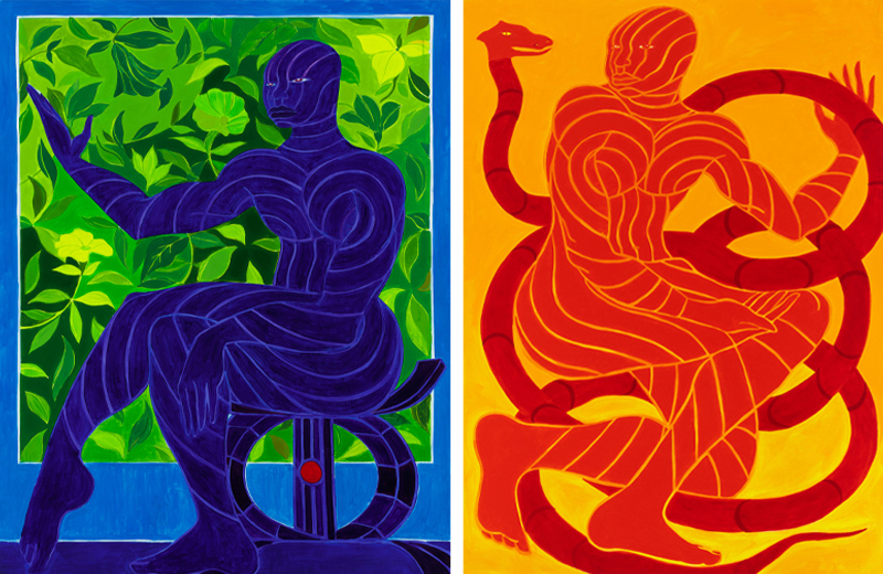 The Prince's Decoration (left) and The Prince's Red Serpent by Tunji Adeniyi-Jones