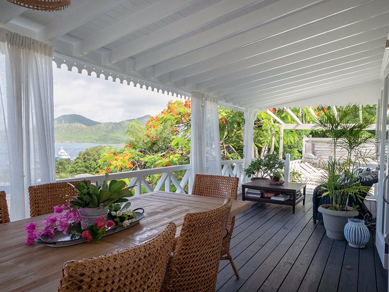 The outdoor deck of an Antiguan home