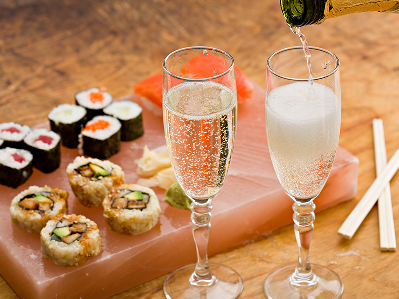 A champagne and food pairing of sushi