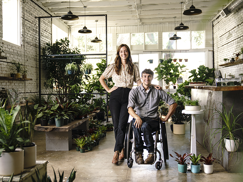 Brian and Emily Kellet, founders of Stump plants