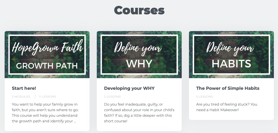 hopegrown courses