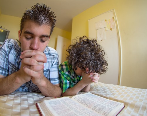 Family doing Lectio Divina for kids