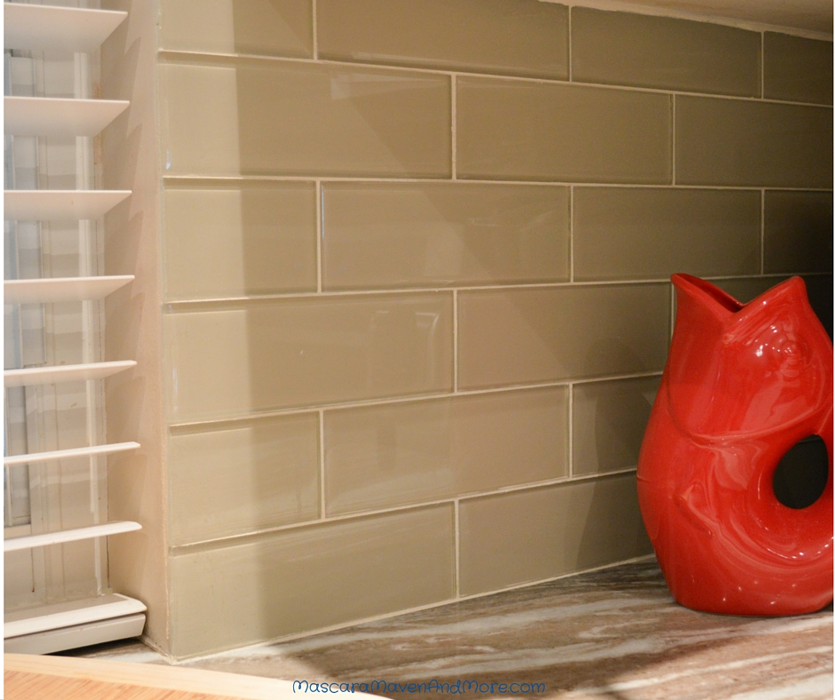 kitchen with glass subway tile diy