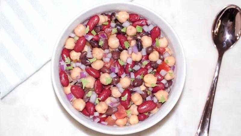 Cowboy caviar bean salad on a table