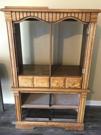 Upcycled Armoire Cabinet with Back, Drawers and Doors Removed