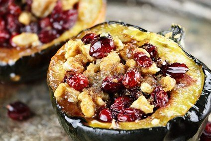 Easy Roasted Acorn Squash With Walnuts & Cranberries