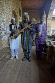 Treated to a musical performance after visiting the museum in the royal palace of Foumban.