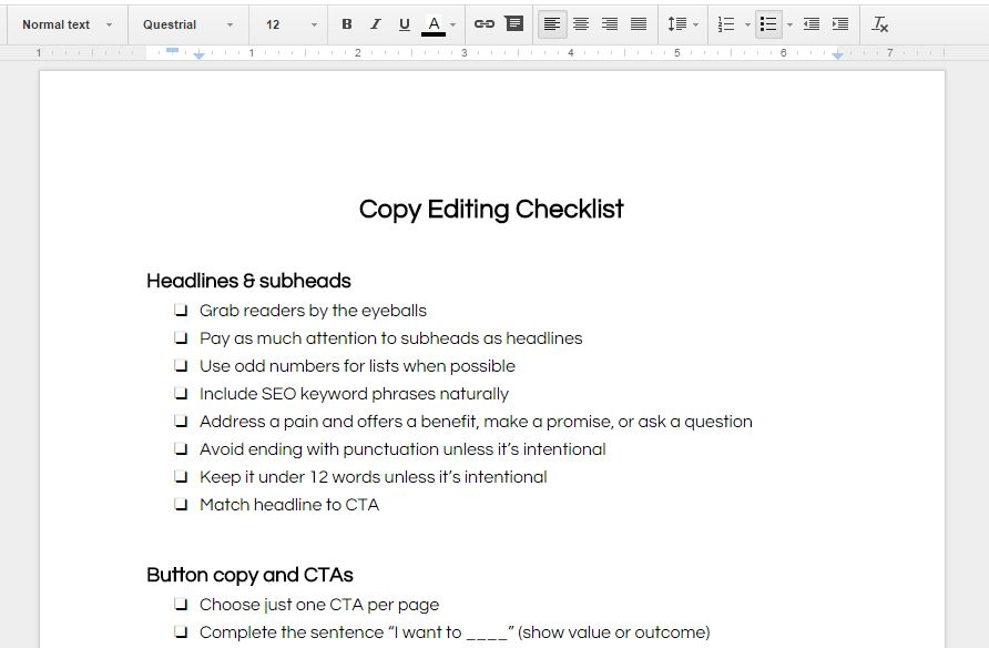 Copy editing checklist on screen