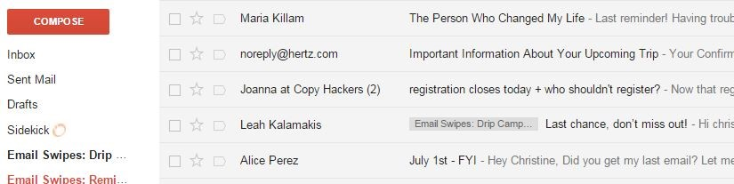 Reminder swipes in Gmail