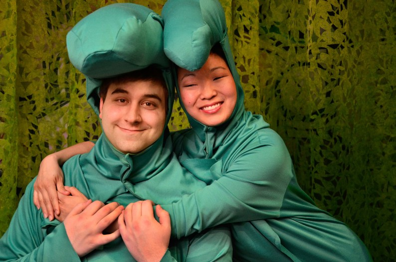 "Lyle (Anthony Kayer, left) is reunited with his crocodile Mother (Deanna Myers, right); in Lifeline Theatre's world premiere musical, ""Lyle Finds His Mother,"" adapted by Jessica Wright Buha, music and lyrics by Michael James Brooks, and directed by Dorothy Milne; based on the beloved children's book by Bernard Waber; runs March 22, 2014, through April 27, 2014. Lifeline Theatre is located at 6912 N. Glenwood Ave. Chicago, IL 60626. For tickets call the box office at 773-761-4477 or visit www.lifelinetheatre.com. Photo by Suzanne Plunkett."