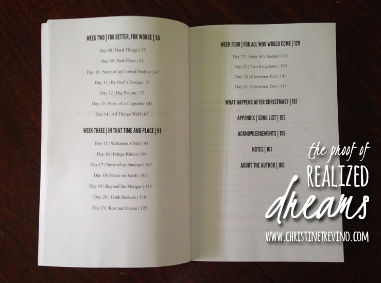 Sneak peak of the table of contents