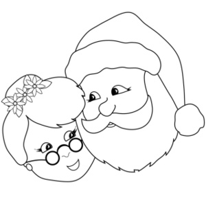 free santa claus clip art image coloring page of mr and mrs